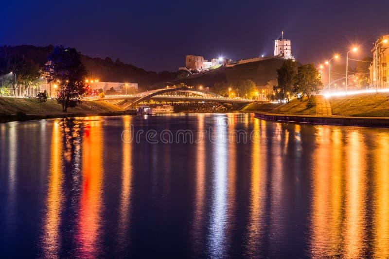 Nachtscène van Vilnius stock fotografie