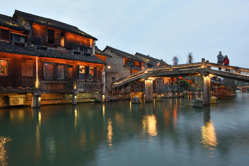 Nachtscène van Wuzhen, China stock foto