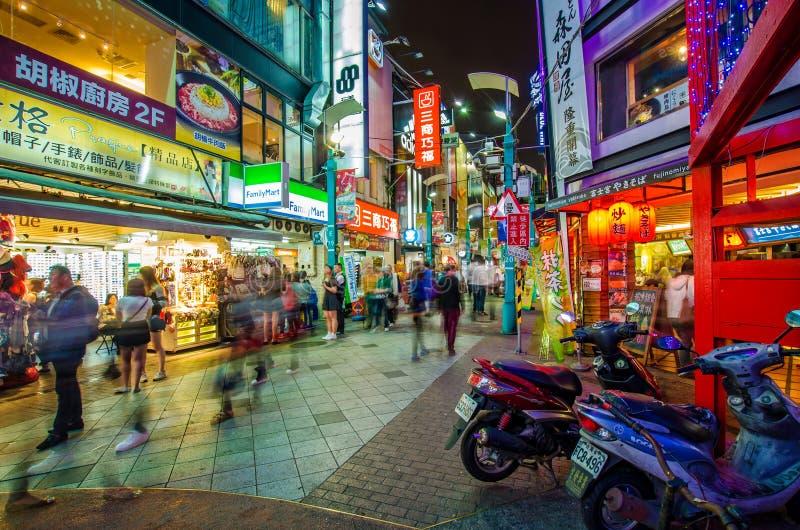 Nachtscène van Ximending royalty-vrije stock afbeelding