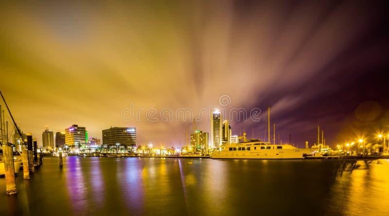 Nachtscènes rond Corpus Christi Texas royalty-vrije stock afbeeldingen