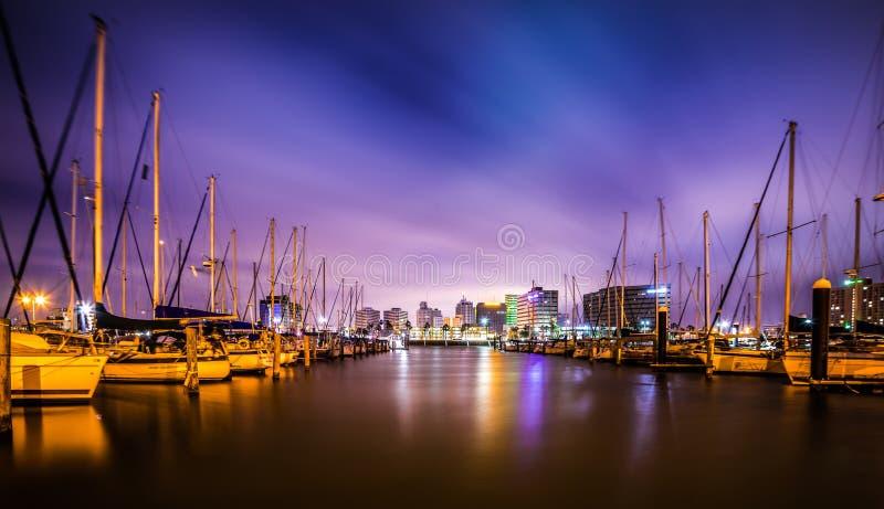 Nachtscènes rond Corpus Christi Texas stock afbeeldingen