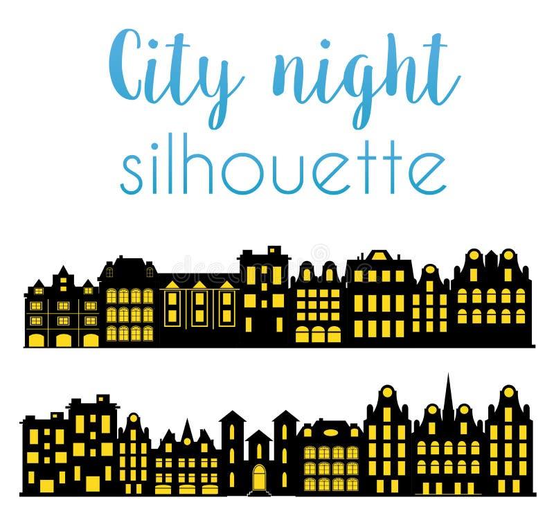 Nachtschattenbild der Stadt vektor abbildung