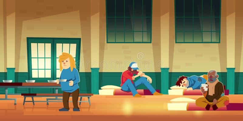 Nachtschuilplaats voor de vector van het dakloze mensenbeeldverhaal stock illustratie