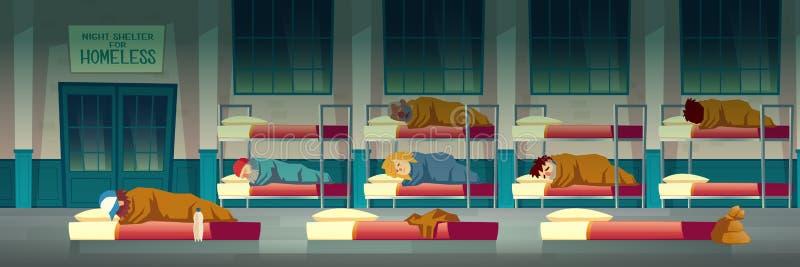 Nachtschuilplaats voor de vector van het dakloze mensenbeeldverhaal royalty-vrije illustratie