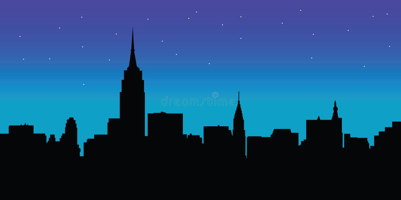 NachtSkyline New- Yorkvektor stock abbildung