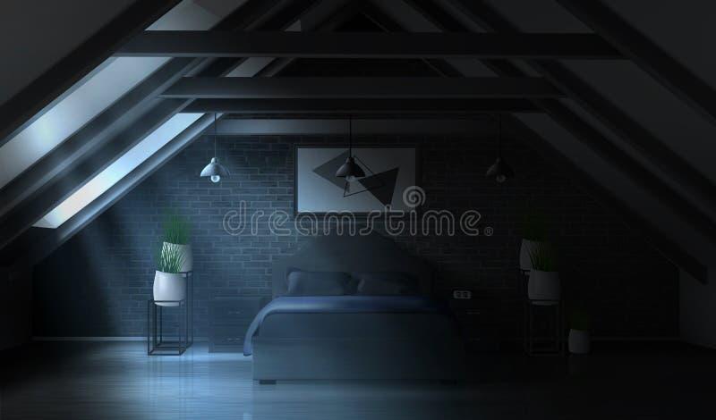 Nachtslaapkamer op zolder, leeg maanlichtbinnenland royalty-vrije illustratie