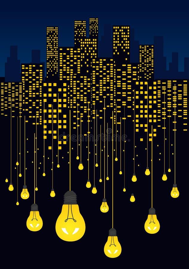 Nachtstad en gloeiende gloeilampen die op draden hangen Energie - besparingsConcept royalty-vrije illustratie
