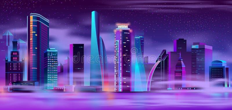 Nachtstad in mist stedelijke vector als achtergrond royalty-vrije illustratie