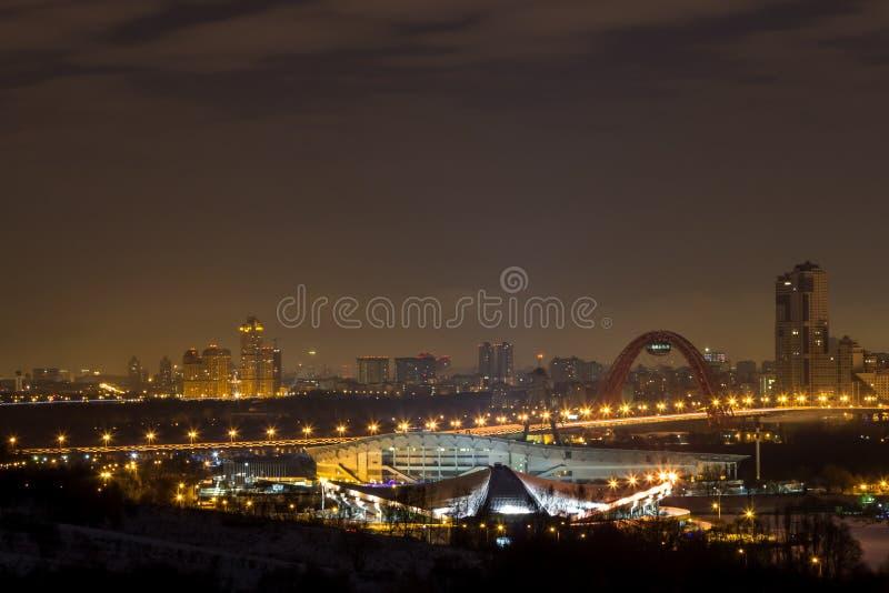 Nachtstad, Moskou bij nacht stock foto