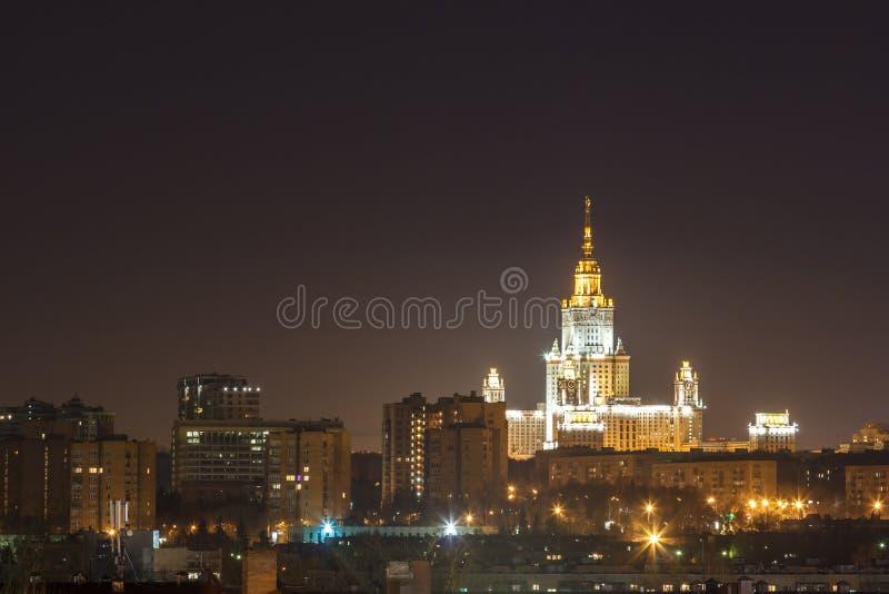 Nachtstad, nacht Moskou stock foto's