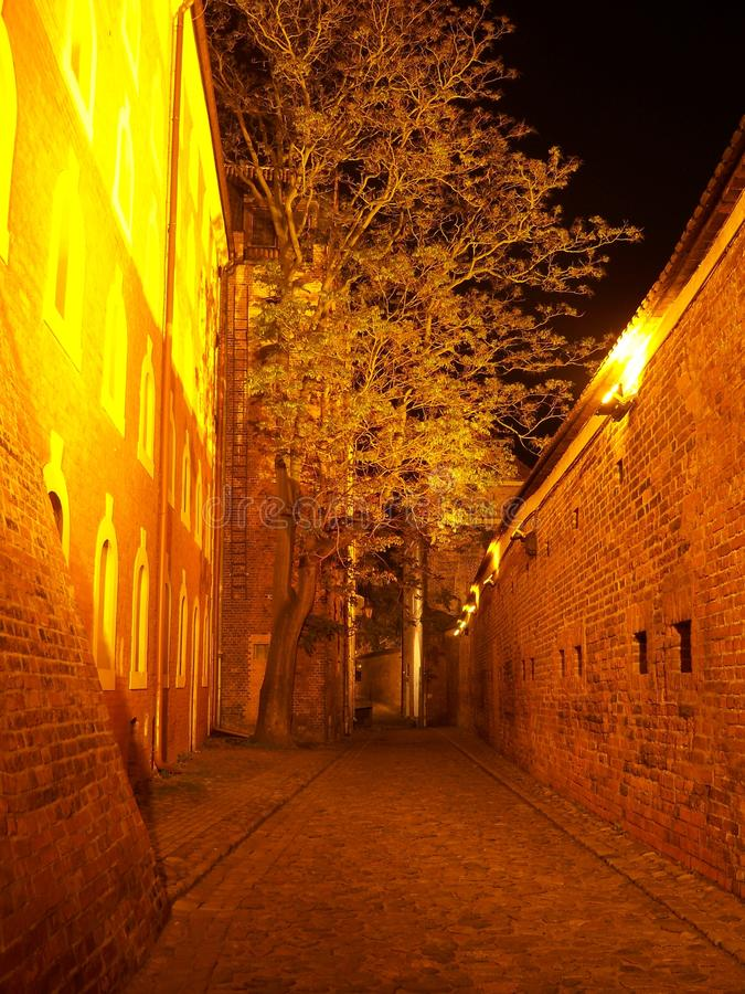 Nachtstad - Torun royalty-vrije stock foto's