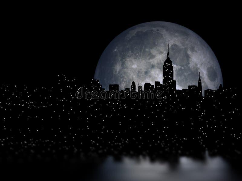 Nachtstad van volle maan royalty-vrije stock afbeeldingen