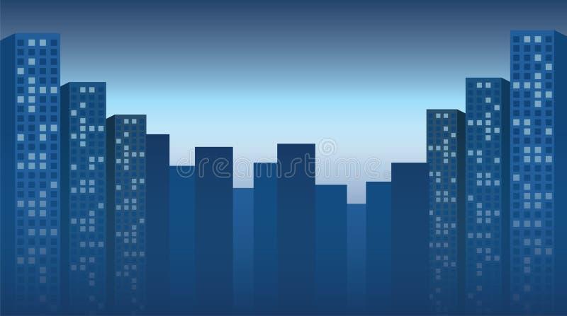 Nachtstad, wolkenkrabbersachtergrond Vector illustratie stock illustratie