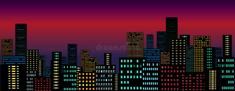 Nachtstadt. stock abbildung