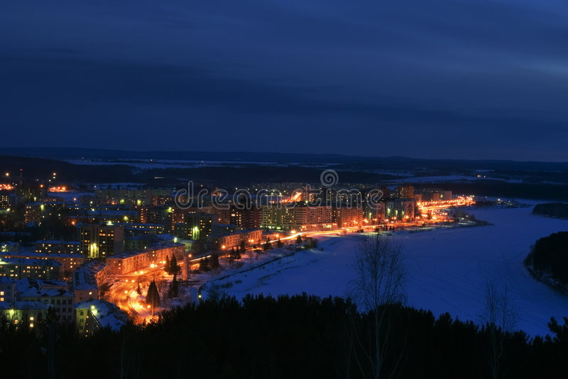 Nachtstadt lizenzfreies stockbild