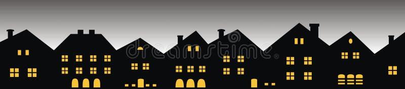 Nachtstadt, Gruppe Häuser, Vorderansicht stock abbildung
