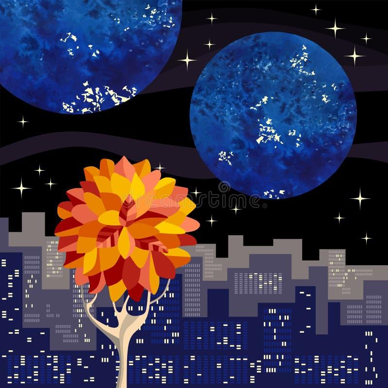 Nachtstadtlandschaft mit Gebäuden und Herbstbaum Rand der Farbband-, Lorbeer- und Eichenblätter vektor abbildung