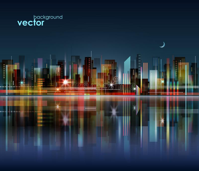 Nachtstadtskyline mit Reflexion auf Wasseroberfläche, Illustration vektor abbildung