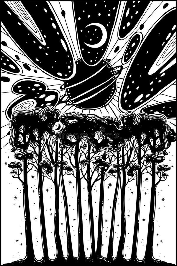Nachtsternenklare Waldlandschaft und surrealer Himmel lizenzfreie abbildung