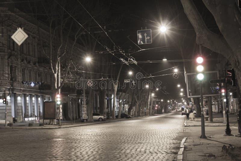 Nachtstraße in Odessa stockbilder