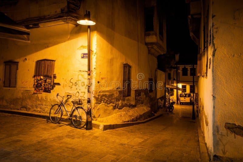 Nachtstraat Antalya royalty-vrije stock afbeelding