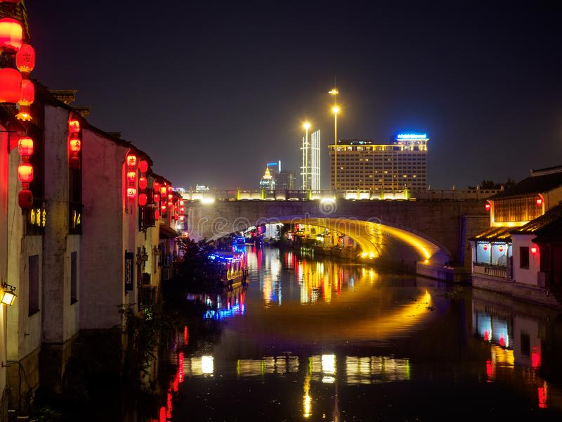 Nachtszene alter Straße Nanchangs Historisches Nanchang - scen stockfotografie