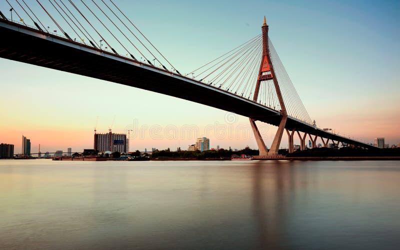 Nachtszene Bhumibol-Brücke lizenzfreie stockfotos