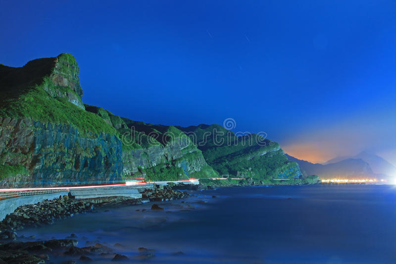 Nachtszene der Küste in Taiwan stockfotografie