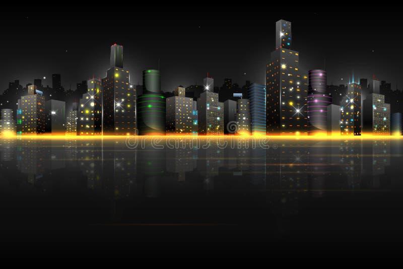 Nachtszene der Stadt stock abbildung
