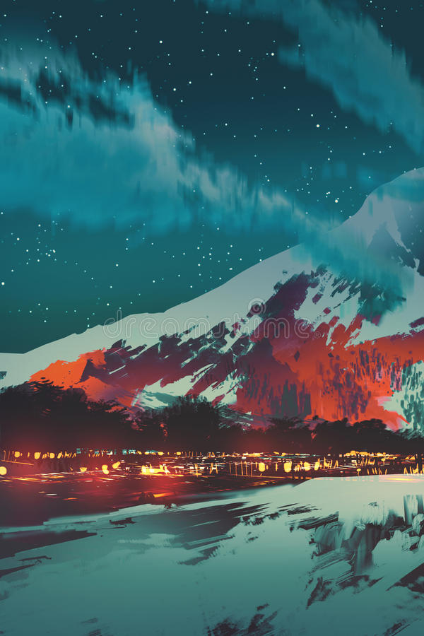 Nachtszene des Dorfs im Berg stock abbildung