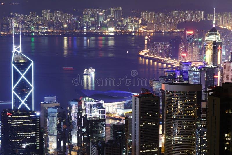Nachtszene des Hongs Kong lizenzfreies stockfoto