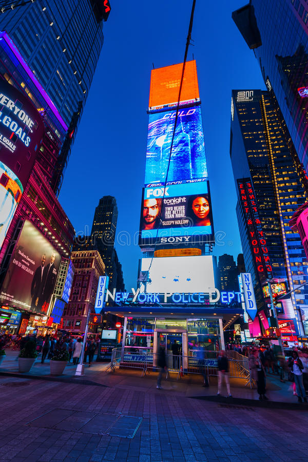 Nachtszene manchmal Quadrat, Manhattan, New York City lizenzfreie stockfotografie