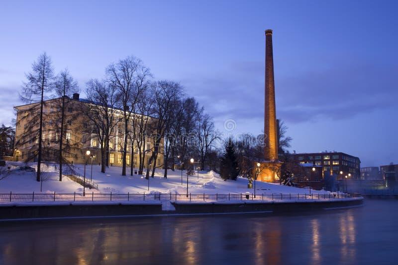 Nachtszene von Tampere stockbilder