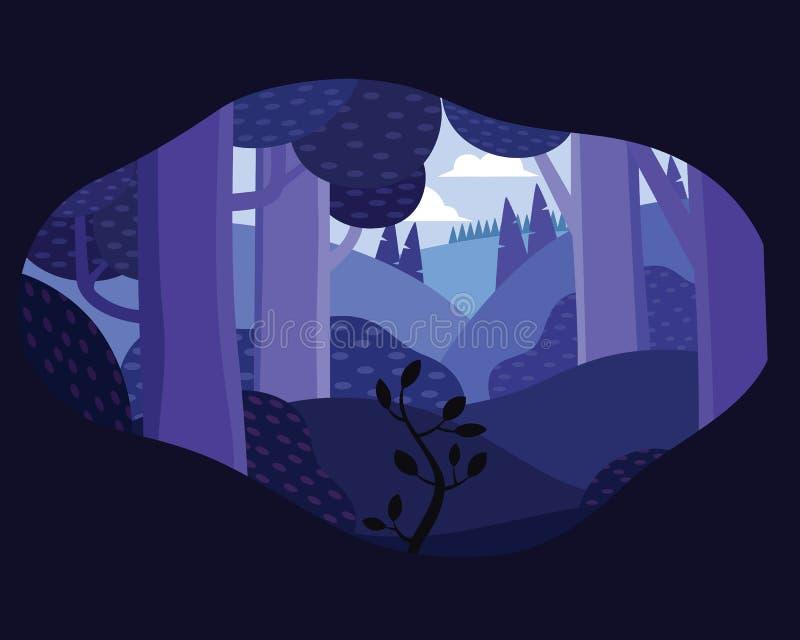Nachttageslandschaftsillustration in der flachen Art mit Zelt, Lagerfeuer, Berge, Wald stock abbildung