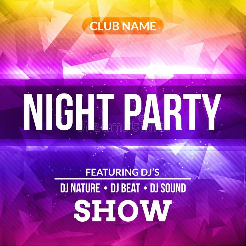 Nachttanzparty-Plakatkonzert Hintergrund-Schablone Vektor DJ schlagen Musikplakatflieger mit einer Keule lizenzfreie abbildung