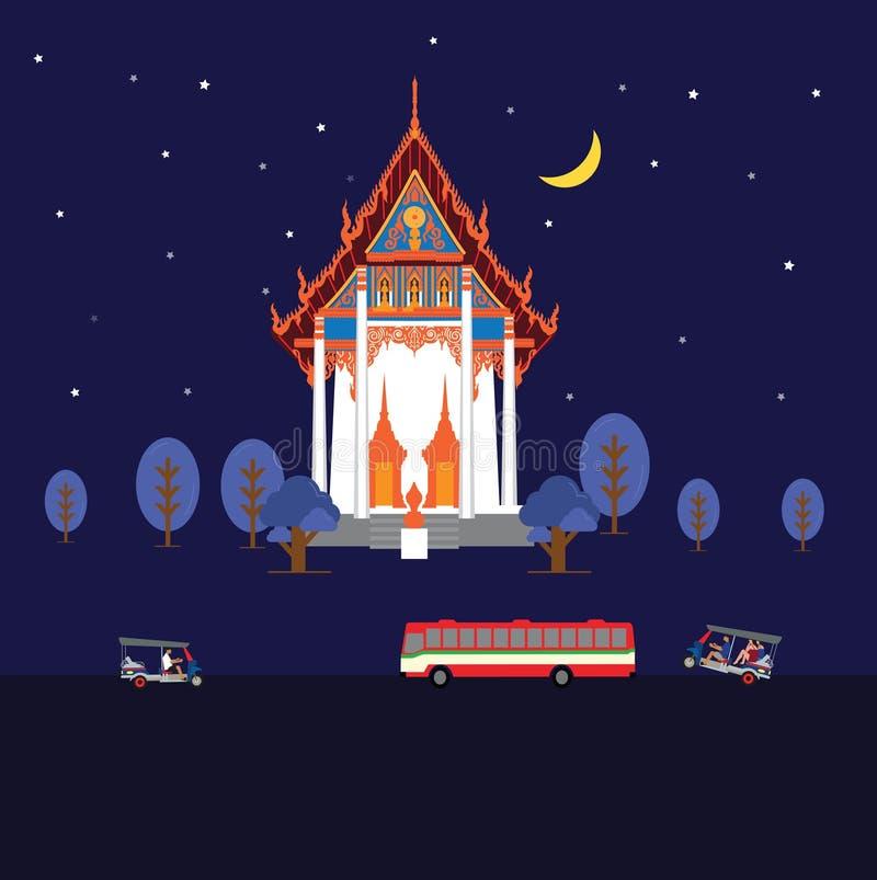 Nachttempel in Bangkok vector illustratie