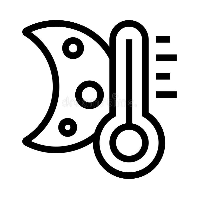 Nachttemperatur Vektor-Linie Ikone lizenzfreie abbildung