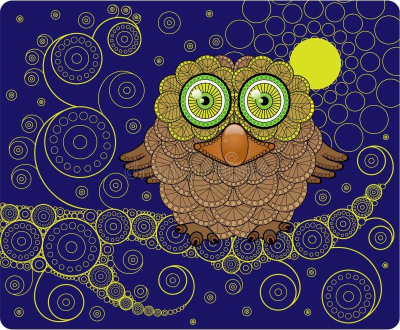 Nachtuil op een Tak vector illustratie