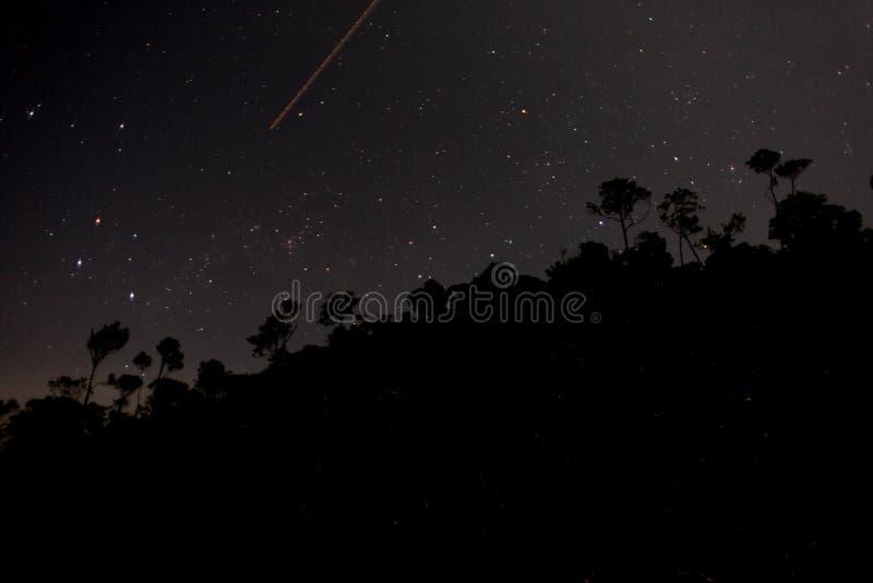 Nachtvallende ster stock foto