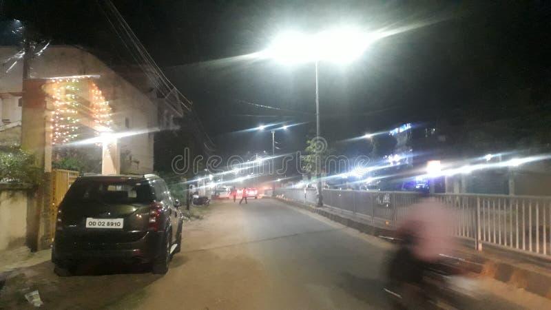 Nachtverlichting straat Bhubaneswar Led Odisha India royalty-vrije stock fotografie