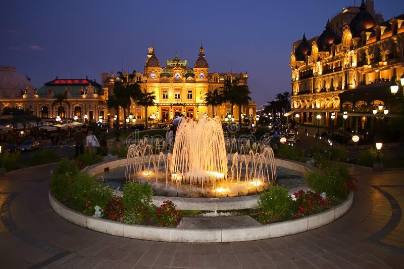 Nachtvierkant binnen   Monte Carlo Monaco royalty-vrije stock fotografie