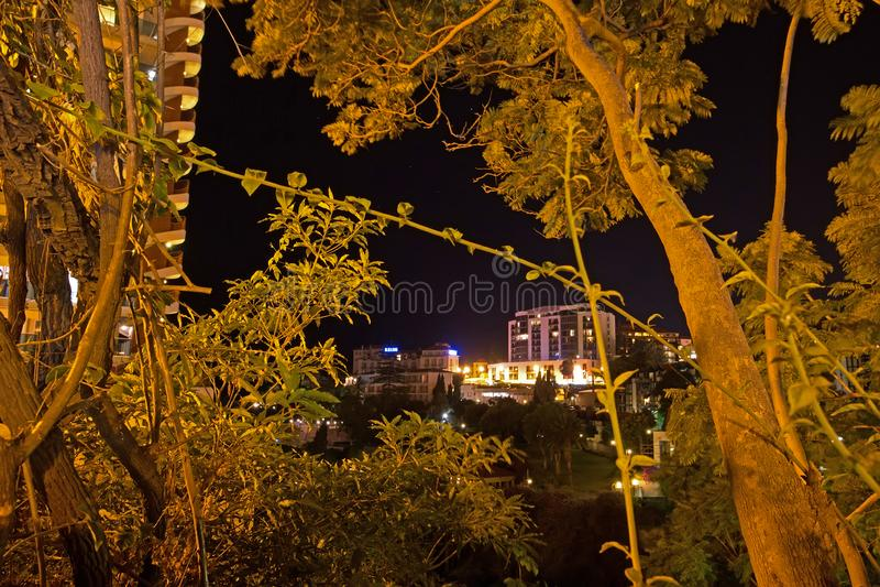 Nachtweergeven, Funchal, Madera royalty-vrije stock foto's
