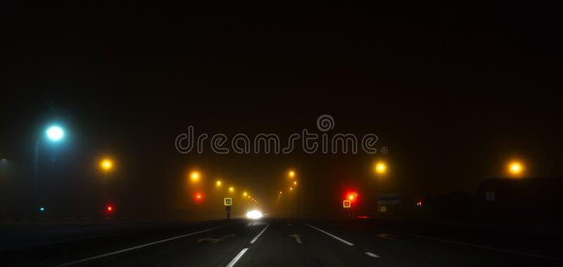 Nachtweg, lichten, verkeerslichten, mist donker royalty-vrije stock afbeelding