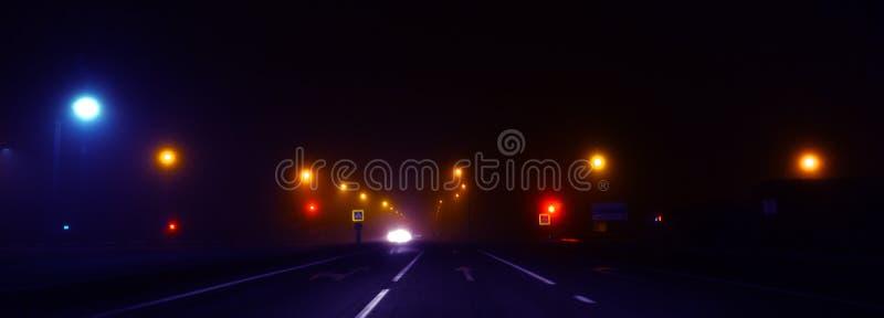 Nachtweg, lichten, verkeerslichten, mist donker stock afbeelding