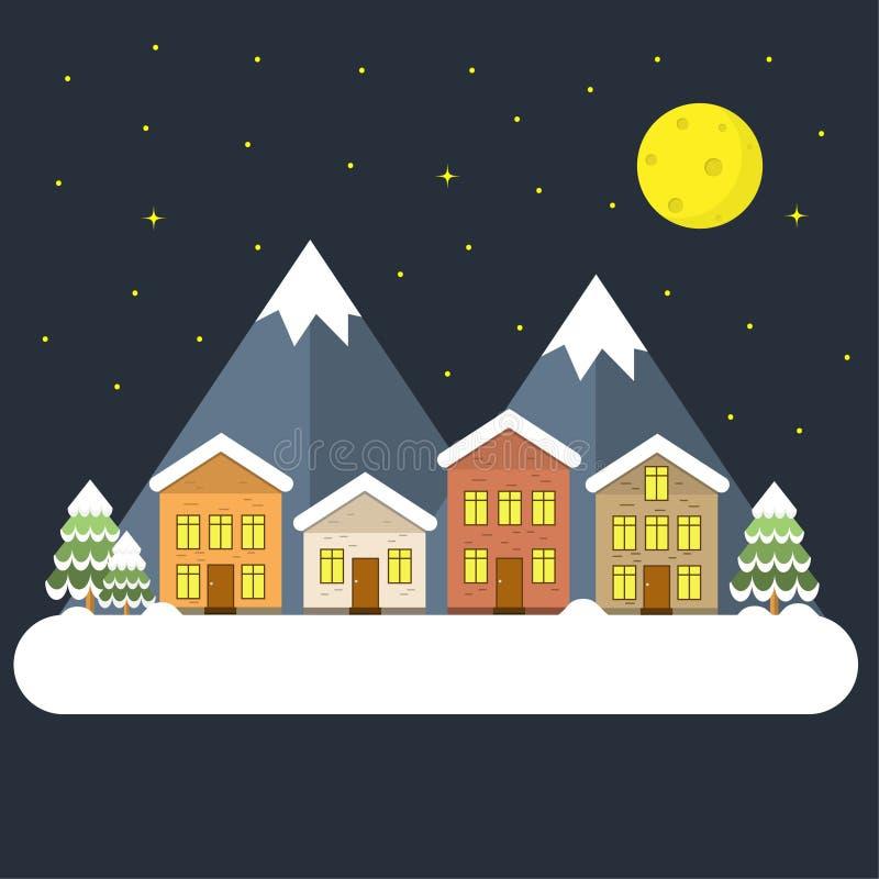 Nachtweihnachtshintergrund mit flachem Entwurf haben Dorfbaumweihnachten und -berg Landschaftswinter lizenzfreie abbildung