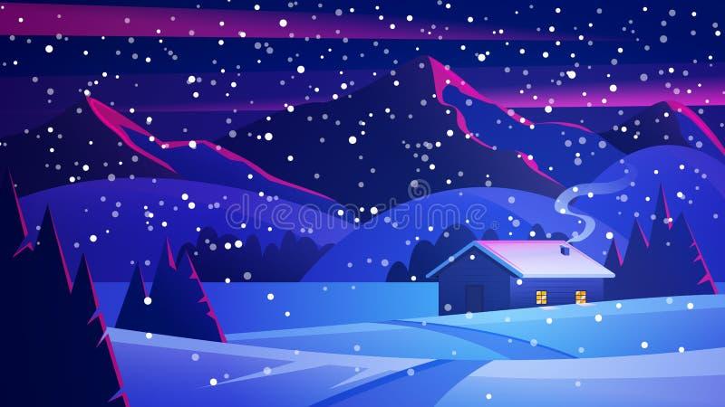 Nachtweihnachtslandschaft mit Bergen und einer einsamen Hütte Weihnachtsabendslandschaft Ð-¡ ozy Haus im Winterwaldvektor des Win lizenzfreie abbildung