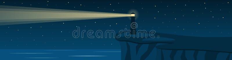 Nachtzeegezicht met een vuurtoren op een klip Panorama vector illustratie