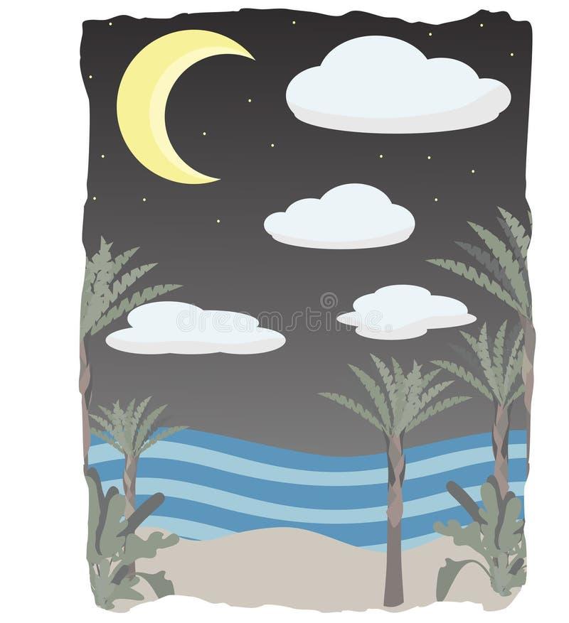 Nachtzeit auf Szenenstrand bewölkt sich, Mond und Sterne lizenzfreie abbildung