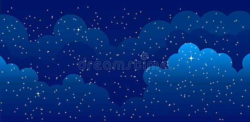 Nachtzeithimmelhintergrund Gute Nacht stock abbildung