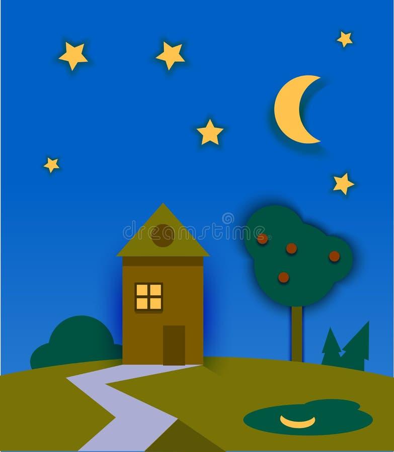 Nachtzeitnaturlandschaft mit Haus, Mond und Sternen stock abbildung